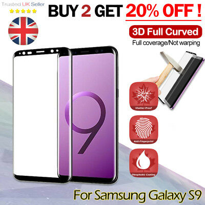 For Samsung Galaxy S9 3D Full Curved Tempered Glass LCD Screen Protector Black _