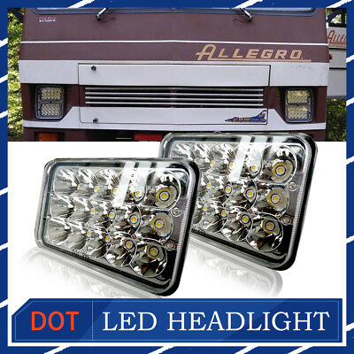 "4x6"" LED Headlights for Kenworth T400 T600 T800 W900L W900B Classic 120/132 CAr"