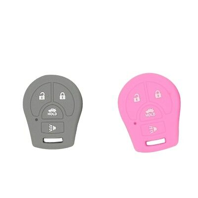 Pack of 2 Remote Keyless Car Key Fob Rubber Cover Case for Nissan Pink+Gray