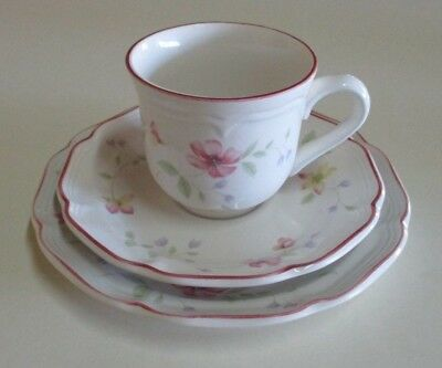 Vintage Drayton Cup, Saucer and Plate / Tea Trio - Pink Floral Design - 1980s