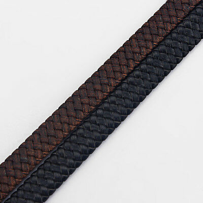 1 Meter Black/Brown 10x3mm Flat Braided/Bolo Real Genuine Leather Cord