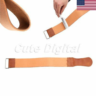 1x Genuine Leather Strop Barber Shaving Straight Razor Sharpener Strap US Stock