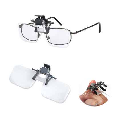 Clip On Flip Up 2x Magnifying Reading Glasses Acrylic Magnifier Loupe Lenses UK