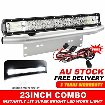 23 inch CREE LED Light Bar + Number Plate Frame Mount Bracket 4X4 Silver + Wire