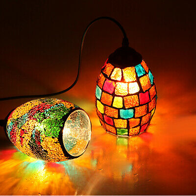 Vintage Hanging Light Mosaic Pendant Ceiling Lampshade Stained Glass #1