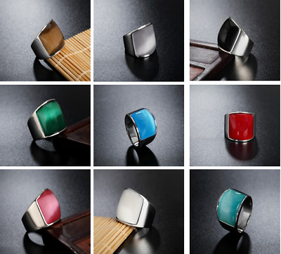 9 Colors Gemstones Mens Womens 316L Stainless Steel Band Ring Couple Wedding