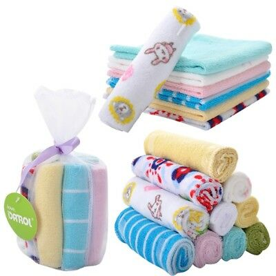 8Pcs/Set Newborn Baby Kid Soft Feeding Towel Waterabsorption Cotton Square Scarf