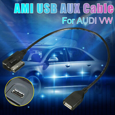 NEW Media-In AMI MMI MDI AUX To USB Cables Data Charging Adapter For Audi VW