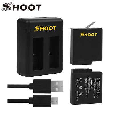 SHOOT GoPro Hero 5 Dual Battery with USB Charger 3.85V 1220mAh Batteries