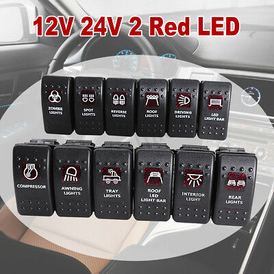 5-Pin Car Truck Boat Marine Red Led Light Rocker Switch Spst On/off New