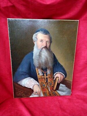 Large painting ancien.Homme religious,oil on canvas signed Aubree and dated 1853