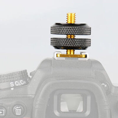Pro 1/4 Inch Dual Nuts Tripod Mount Screw To Flash Camera Hot Shoe Adapter Tool