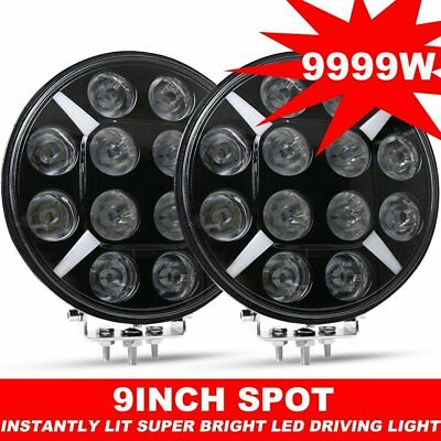 Pair 9inch DRL CREE Round Black LED Spot Driving Lights Offroad 4x4 ATV Work
