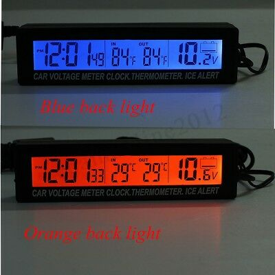Digital LCD Auto Car Temperature Thermometer&Clock Voltage Meter 12V / 24V NEW
