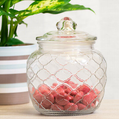 1400ml Retro Embossed Glass Sweets Sweetie Storage Jar Rice Pasta Flour Canister