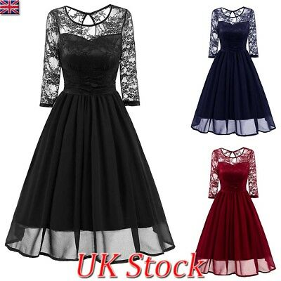 Ladies Women Party Evening Lace Swing Midi Dress Retro Formal Prom Cocktail 6-16