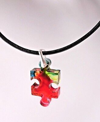 Autism Awareness Puzzle Pendant Charm 925 Sterling Silver Bail Leather Necklace