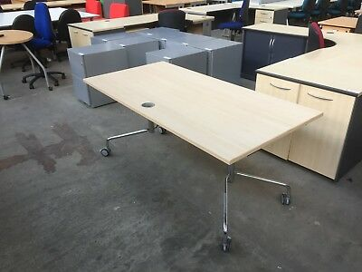 Logic Folding Maple Office Table On Wheels, Desk, Meeting, Conference, Flip