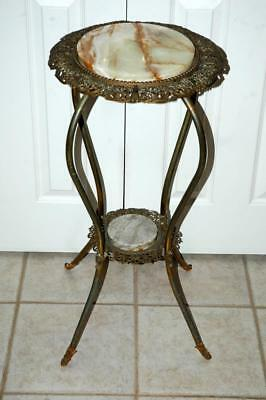 Antique Vintage Round Ornate Metal & Marble Top Plant/Lamp Table 15x30""
