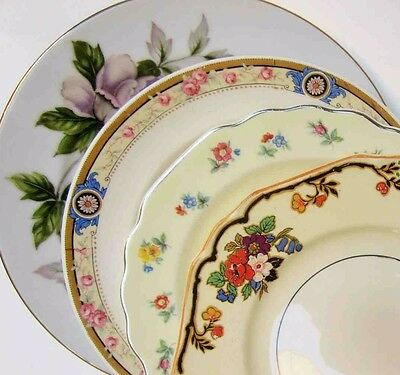 Mismatch China Bread Cake Plate Pink Floral Roses Peony Vintage Shabby Chic Mix