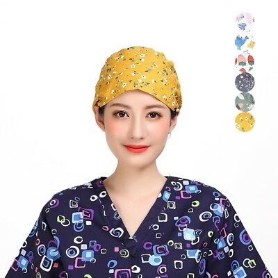 Women Chef Hat Nurse Operating Cap Breathable Home Kitchen Cooking Hat Colorful