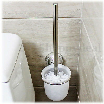 Stainless Steel Round Wall Mounted Toilet Brush With Frosted Glass Holder Rack ❤