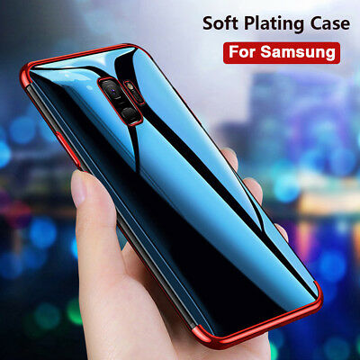 For Samsung Galaxy A7 2018 J4+ J6+ Plating Soft TPU Slim Clear Back Case Cover