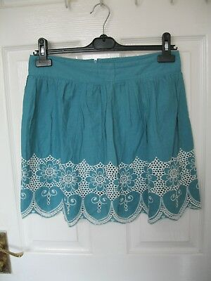 PRIMARK SKIRT SIZE 12 Blue cut out embroidered HIGH WAIST VINTAGE MINI A LINE