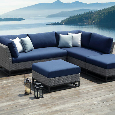 OVE Decors Torrance 4 Pieces Blue Outdoor Sectional Set