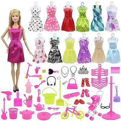110Pcs. Doll Accessories Set for Barbie Dolls 10 Handmade Clothes Party Dress
