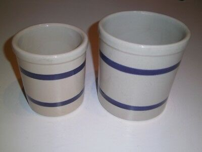 Robinson Ransbottom Pottery RRP Blue Stripe CROCKS #303 - E and F Roseville,Ohio