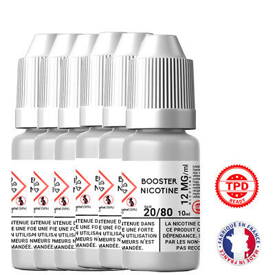Pack Booster Nicotine 12 mg 10 ml 20/80 - 20% PG / 80% VG DIY Lot de 6 Bouteille