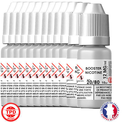 Pack Booster Nicotine 12 mg 10 ml 20/80 -20% PG / 80% VG DIY Lot de 12 Bouteille