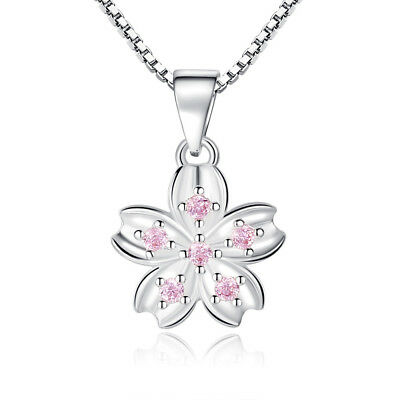 Muye 925 Sterling Silver Pink Crystal Flower Pendant Necklace For Women Jewelry