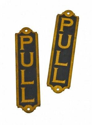 "C. 1920's Single-Sided Flush Mount Entrance Door ""pull"" Signs With Black Enamele"