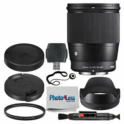 Sigma 16mm f/1.4 DC DN Contemporary Lens for Sony E + 67mm UV Filter + More Acc.