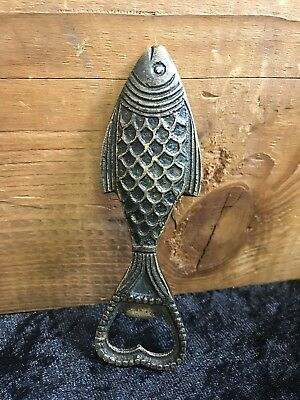"""Vintage Bronze Or Brass Fish Bottle Opener 5"""" Trout Bass Pike Carp"""