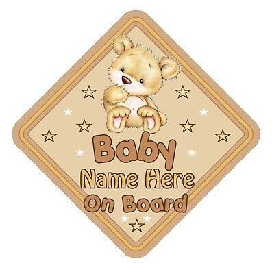 Baby Bear  Personalised Car Window Sign - Baby On Board Safety