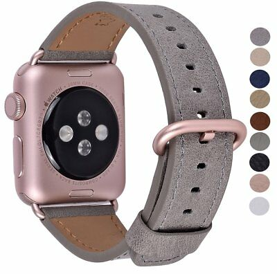 Apple Watch Band 38mm Rose Gold Metal Clasp Genuine Leather Iwatch Grey Vintage