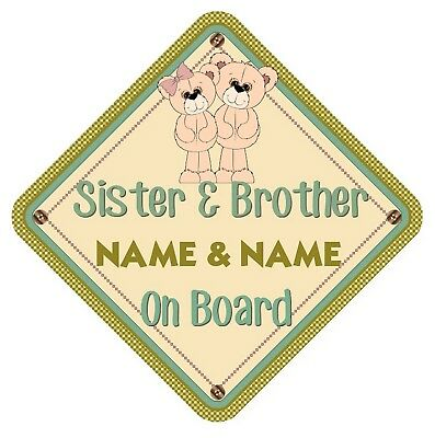 Sister & Brother Bears  Personalised Car Window Sign - Baby On Board