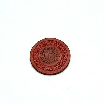"""Southern Club $5 Red """"SCA"""" T Mold Hot Spring AR Illegal Casino Chip #1"""