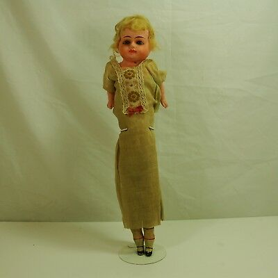 """Early Antique German Paper Mache/ straw Doll Glass Eyes Painted Mouth 21"""""""