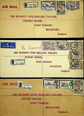 Nigeria Africa 1959 Tailors Export House 3 Airmail Regd Covers To England
