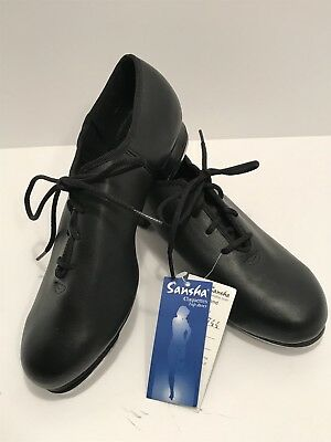 Tap Dance Shoes SANSHA Black Leather TA01 9M=US size 6.5 NWT
