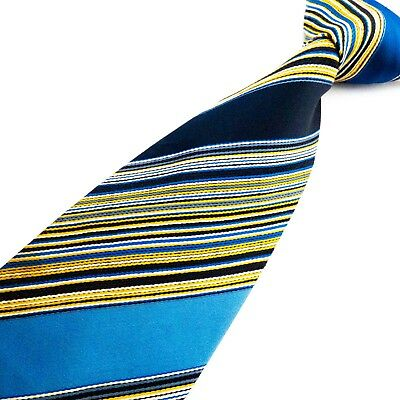 FOLKESPEARE Vintage 60s 70s Blue Gold White Striped Mens Tie