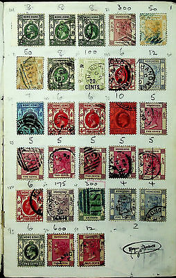 Hong Kong China Qv Ed 219 Used Stamps On Old Approval Book