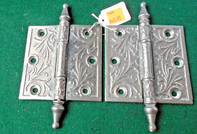 "Pair Vintage Eastlake Hinges  3""  X 3""  Steeple Top - Beautiful  (7454)"