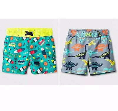 Cat & Jack Boys Set Of 2 Swim Trunks Surfboards & Dinosaurs NWT