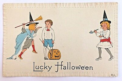 Antique Halloween Postcard Copyright Nash Children Girl Witch JOL Series 8-A
