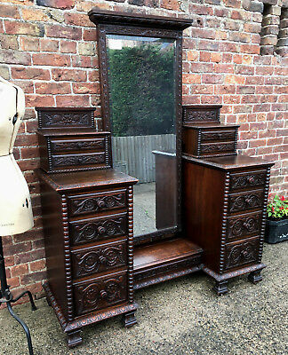 A Magnificent Antique Gothic Hand Carved Dressing Table Drawers Cheval Mirror.